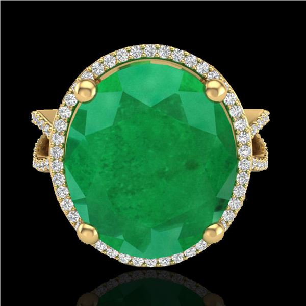 12 ctw Emerald & Micro Pave VS/SI Diamond Ring 18k Yellow Gold - REF-143G6W