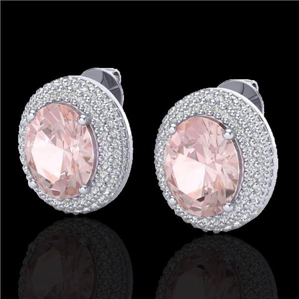 9 ctw Morganite & Micro Pave VS/SI Diamond Earrings 18k White Gold - REF-284M4G