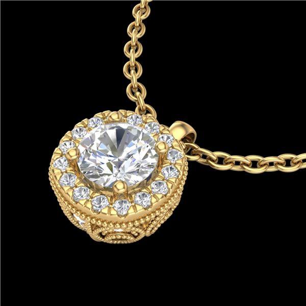 1.1 ctw VS/SI Diamond Solitaire Art Deco Stud Necklace 18k Yellow Gold - REF-218W2H