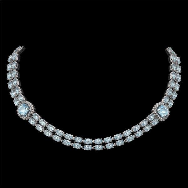33.39 ctw Aquamarine & Diamond Necklace 14K White Gold - REF-527A3N