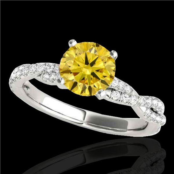 1.25 ctw Certified SI/I Fancy Intense Yellow Diamond Ring 10k White Gold - REF-163W6H
