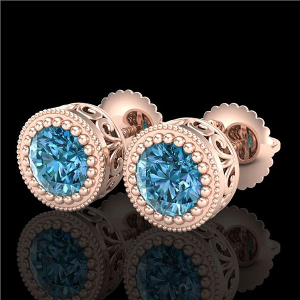 1.09 ctw Fancy Intense Blue Diamond Art Deco Earrings 18k Rose Gold - REF-143W6H