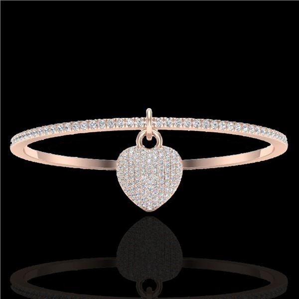 3.50 ctw Micro Pave Diamond Bangle 14k Rose Gold - REF-259M6G