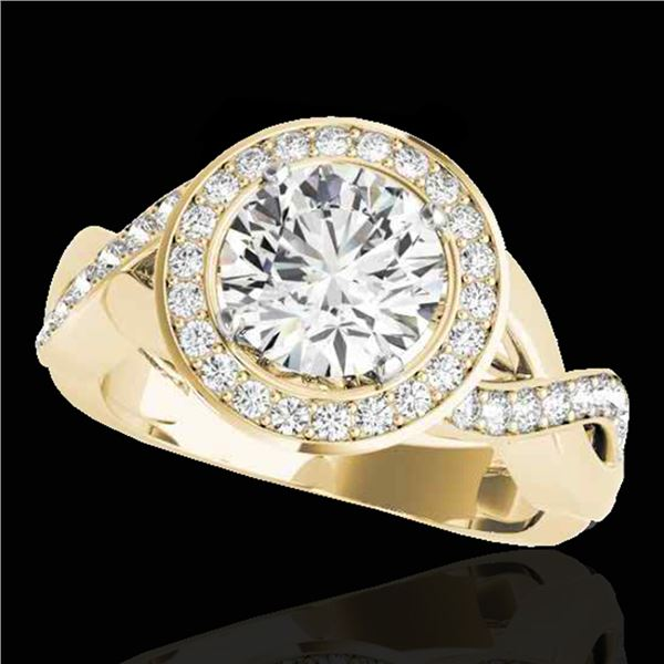 1.75 ctw Certified Diamond Solitaire Halo Ring 10k Yellow Gold - REF-218K2Y