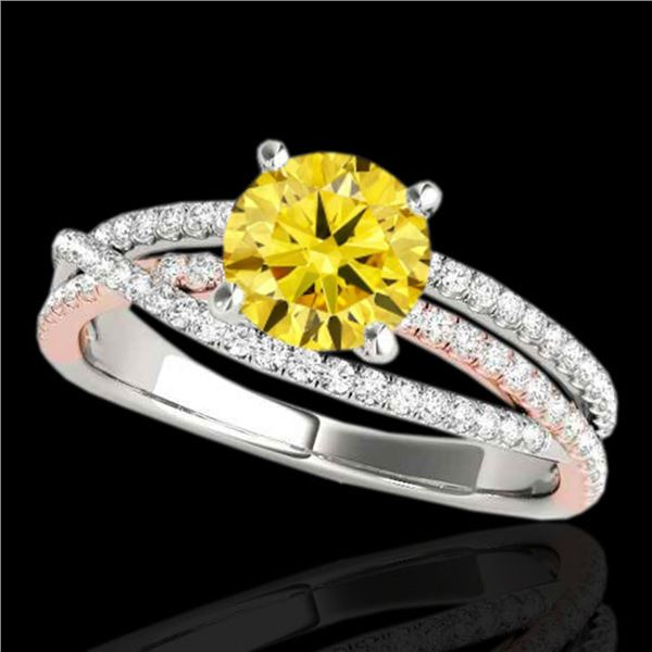 1.65 ctw Certified SI Intense Yellow Diamond Solitaire Ring 10k 2Tone Gold - REF-244G3W