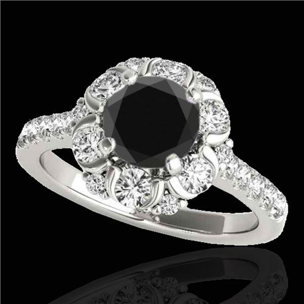 2.05 ctw Certified VS Black Diamond Solitaire Halo Ring 10k White Gold - REF-75R2K