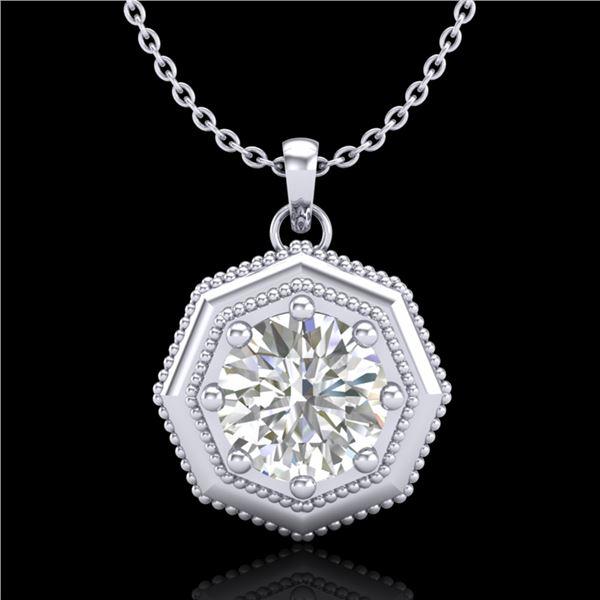 0.75 ctw VS/SI Diamond Solitaire Art Deco Stud Necklace 18k White Gold - REF-180K2Y
