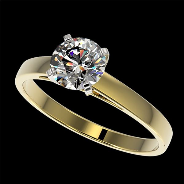 1 ctw Certified Quality Diamond Engagment Ring 10k Yellow Gold - REF-139R2K