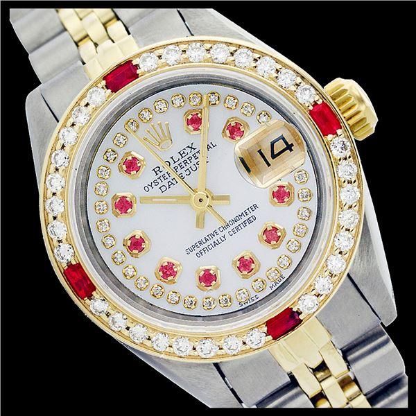 Rolex Ladies Two Tone 14K Gold/SS, Diam/Ruby Dial & Diam/Ruby Bezel, Sapphire Crystal