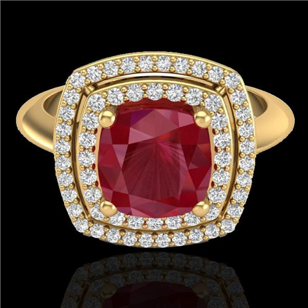 2.52 ctw Ruby & Micro VS/SI Diamond Certified Pave Ring 18k Yellow Gold - REF-77F3M
