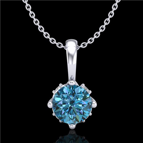 0.62 ctw Fancy Intense Blue Diamond Art Deco Necklace 18k White Gold - REF-72H8R
