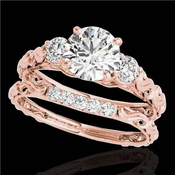 1.35 ctw Certified Diamond 3 Stone Ring 10k Rose Gold - REF-177X3A