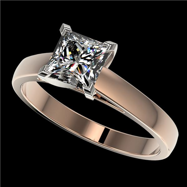 1.25 ctw Certified VS/SI Quality Princess Diamond Ring 10k Rose Gold - REF-304K6Y