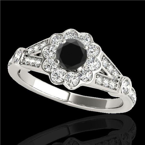 1.65 ctw Certified VS Black Diamond Solitaire Halo Ring 10k White Gold - REF-61G2W