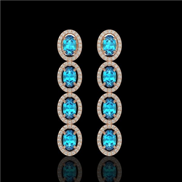 6.28 ctw Swiss Topaz & Diamond Micro Pave Halo Earrings 10k Rose Gold - REF-143A6N