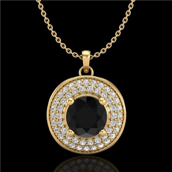 1.25 ctw Fancy Black Diamond Art Deco Stud Necklace 18k Yellow Gold - REF-83K6Y