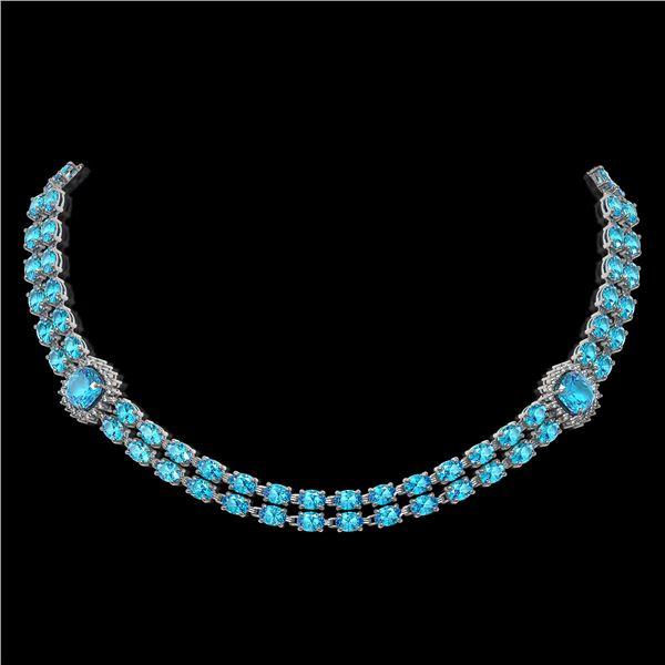 38.95 ctw Swiss Topaz & Diamond Necklace 14K White Gold - REF-527M3G