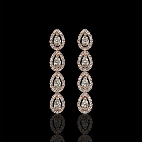 3.84 ctw Pear Cut Diamond Micro Pave Earrings 18K Rose Gold - REF-334R6K