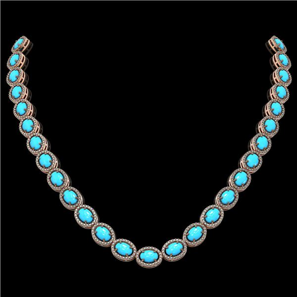 36.208 ctw Turquoise & Diamond Micro Pave Halo Necklace 10k Rose Gold - REF-553X5A
