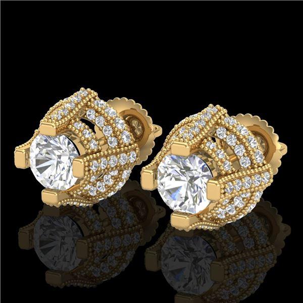 2.75 ctw VS/SI Diamond Micro Pave Stud Earrings 18k Yellow Gold - REF-320F2M