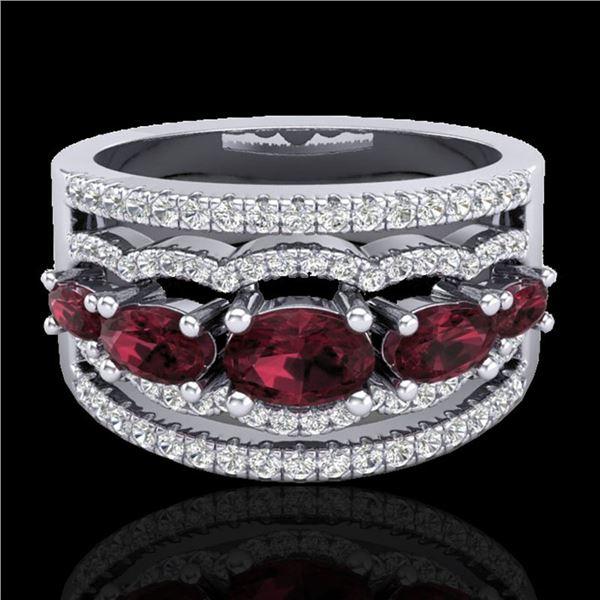 2.25 ctw Garnet & Micro Pave VS/SI Diamond Designer Ring 10k White Gold - REF-81K8Y