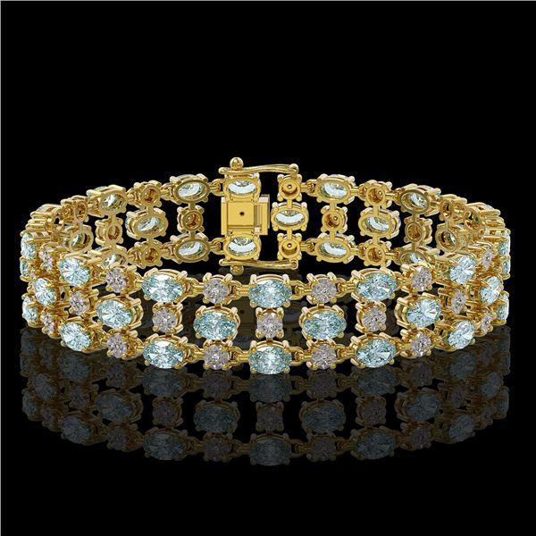 16.06 ctw Sky Topaz & Diamond Row Bracelet 10K Yellow Gold - REF-209K3Y