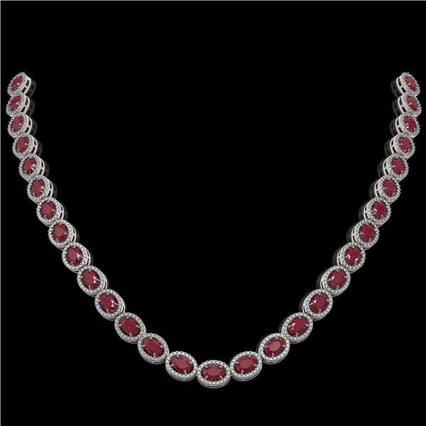 34.11 ctw Ruby & Diamond Micro Pave Halo Necklace 10k White Gold - REF-672R8K