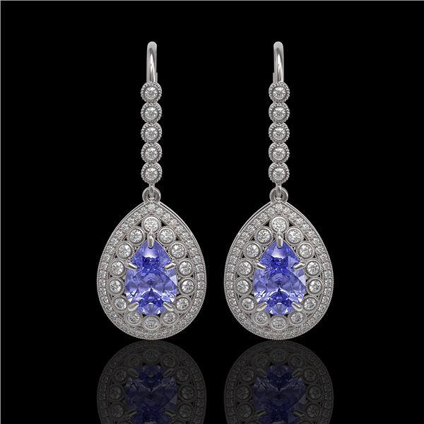 8.95 ctw Tanzanite & Diamond Victorian Earrings 14K White Gold - REF-345Y5X