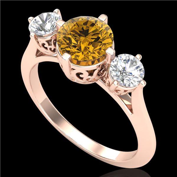 1.51 ctw Intense Fancy Yellow Diamond Art Deco Ring 18k Rose Gold - REF-236K4Y