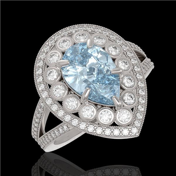 3.82 ctw Certified Aquamarine & Diamond Victorian Ring 14K White Gold - REF-168K8Y