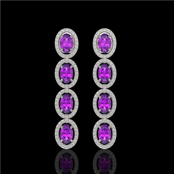 5.56 ctw Amethyst & Diamond Micro Pave Halo Earrings 10k White Gold - REF-143X6A
