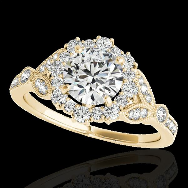 1.5 ctw Certified Diamond Solitaire Halo Ring 10k Yellow Gold - REF-190K9Y