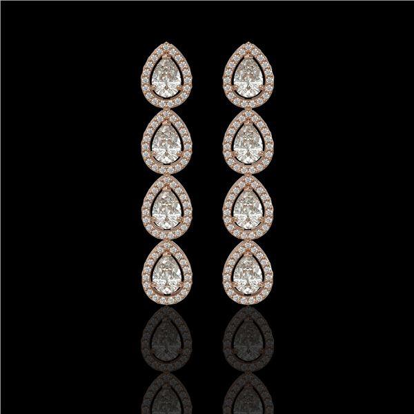 5.22 ctw Pear Cut Diamond Micro Pave Earrings 18K Rose Gold - REF-727M2G