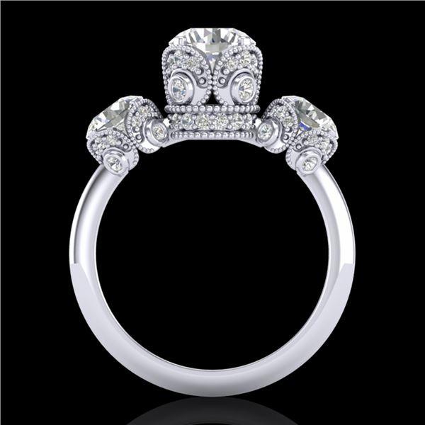 3 ctw VS/SI Diamond Art Deco 3 Stone Ring 18k White Gold - REF-649F3M