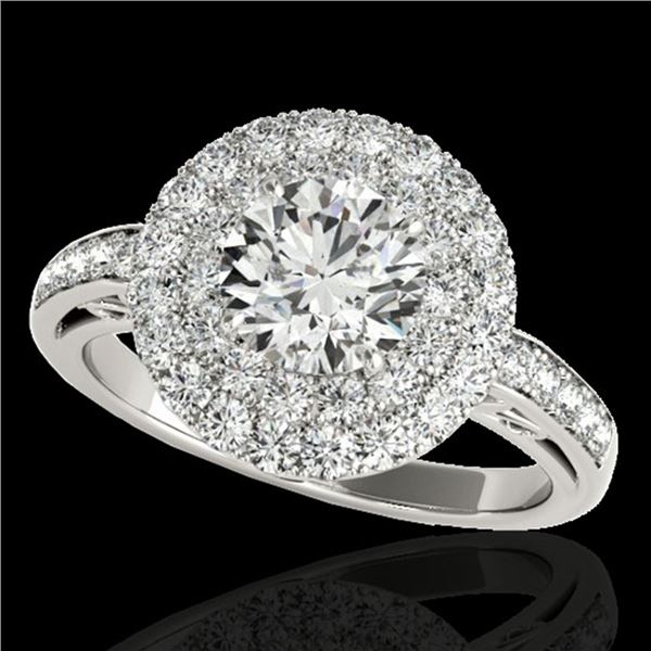 2.25 ctw Certified Diamond Solitaire Halo Ring 10k White Gold - REF-245M5G
