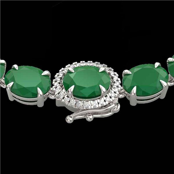 54.25 ctw Emerald & VS/SI Diamond Micro Pave Necklace 14k White Gold - REF-418R2K