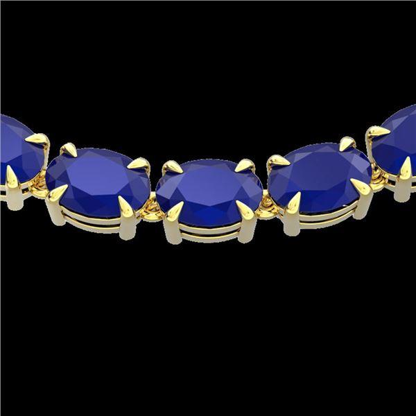 68 ctw Sapphire Eternity Designer Necklace 14k Yellow Gold - REF-309N3F