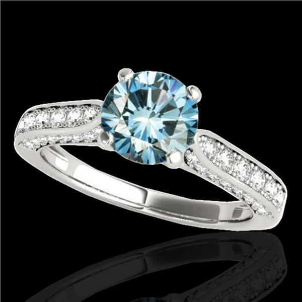 1.6 ctw SI Certified Fancy Blue Diamond Solitaire Ring 10k White Gold - REF-135A2N
