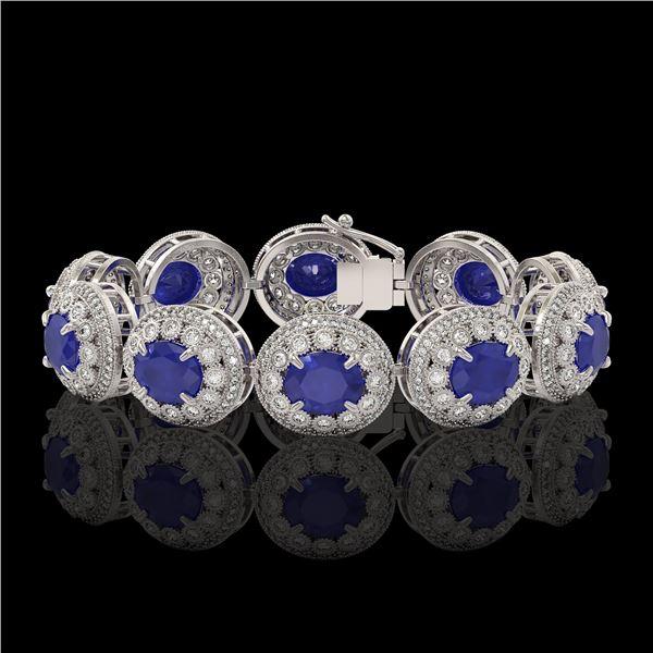 49.17 ctw Sapphire & Diamond Victorian Bracelet 14K White Gold - REF-1334A4N