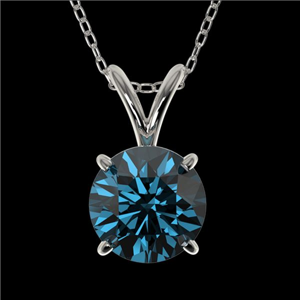 1 ctw Certified Intense Blue Diamond Solitaire Necklace 10k White Gold - REF-90N8F