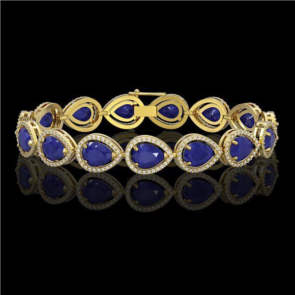 30.06 ctw Sapphire & Diamond Micro Pave Halo Bracelet 10k Yellow Gold - REF-344Y2X