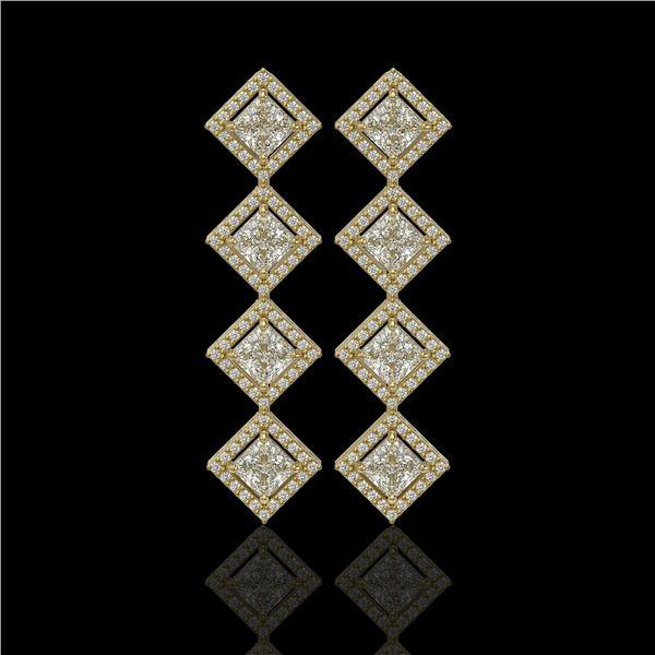 5.31 ctw Princess Cut Diamond Micro Pave Earrings 18K Yellow Gold - REF-733M8G