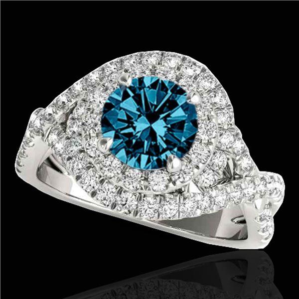 1.75 ctw SI Certified Fancy Blue Diamond Halo Ring 10k White Gold - REF-156W8H