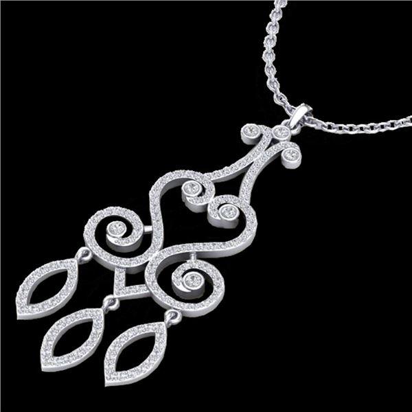 1.60 ctw VS/SI Diamond Micro Pave Designer Necklace 14k White Gold - REF-167W3H