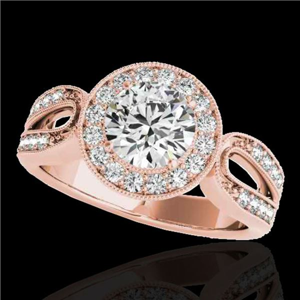 1.4 ctw Certified Diamond Solitaire Halo Ring 10k Rose Gold - REF-204A5N