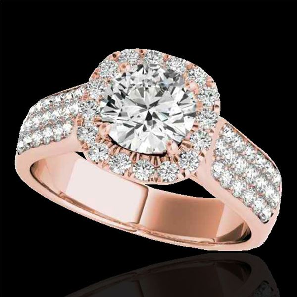 1.8 ctw Certified Diamond Solitaire Halo Ring 10k Rose Gold - REF-193K6Y