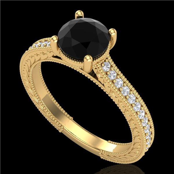 1.45 ctw Fancy Black Diamond Engagment Art Deco Ring 18k Yellow Gold - REF-109K3Y