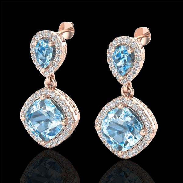7 ctw Sky Blue Topaz & Micro VS/SI Diamond Earrings 10k Rose Gold - REF-79M3G