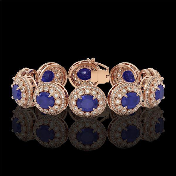49.17 ctw Sapphire & Diamond Victorian Bracelet 14K Rose Gold - REF-1334F4M