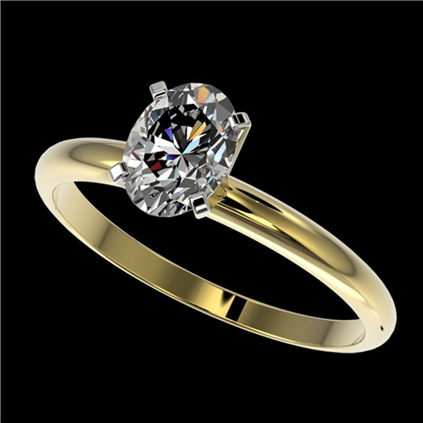 1 ctw Certified VS/SI Quality Oval Diamond Solitaire Ring 10k Yellow Gold - REF-243Y2X